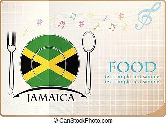 alimento, bandeira jamaica, feito, logotipo