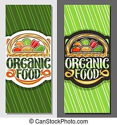 alimento, bandeiras, vetorial, orgânica