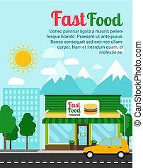 alimento, bandera, publicidad, rápido, restaurante