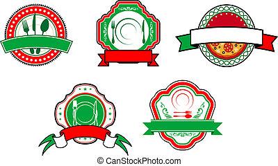alimento, banderas, etiquetas, italiano