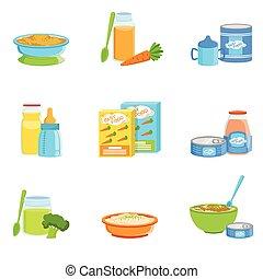 alimento, bebê, jogo, produtos, ícones