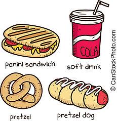 alimento bebida, ícone, em, doodle, estilo