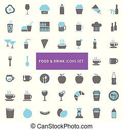 alimento bebida, ícones, jogo, vetorial