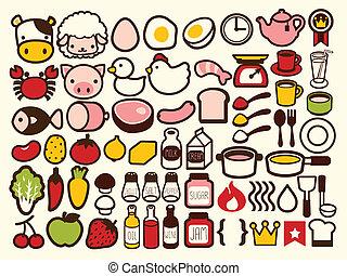 alimento, bebida, 50, ícone