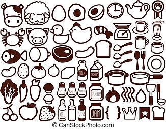alimento, bebida, 50, icono