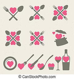 alimento, bebida, cobrança, ícones