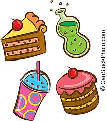 alimento, bebida, coloridos, ícone