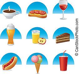 alimento, bebida, conjunto, icono
