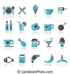 alimento, bebida, e, restaurante, ícones