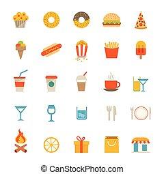 alimento, bebida, iconos