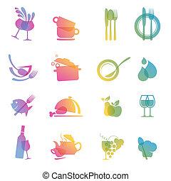 alimento, bebida, jogo, coloridos, ícone