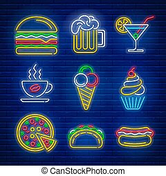 alimento, bebida, néon, rapidamente, sinais