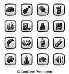 alimento, bebida, rápido, iconos