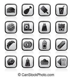 alimento, bebida, rapidamente, ícones