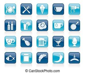 alimento, bebida, y, restaurante, iconos
