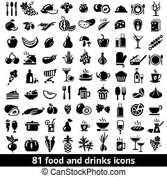 alimento, bebidas, ícones