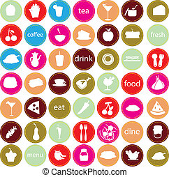 alimento, bebidas, iconos