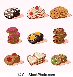 alimento, biscoitos, vetorial, caricatura, ícones