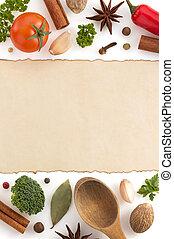 alimento, blanco, papel, ingredientes