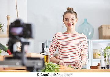 alimento, blogger, cozinhar