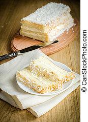 alimento, bolo, branca, anjo