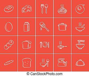 alimento, bosquejo, bebida, set., icono
