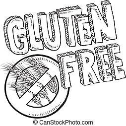 alimento, bosquejo, gluten, libre, etiqueta