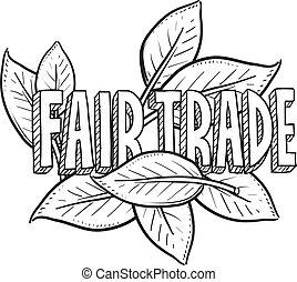 alimento, bosquejo, justo, comercio