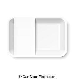 alimento, branca, bandeja, styrofoam, vazio