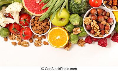 alimento, branca, saúde, fundo, sortido
