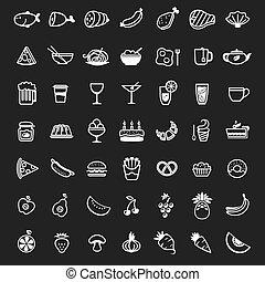 alimento, branca, vetorial, ícones