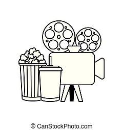 alimento, cámara, vídeo, cine