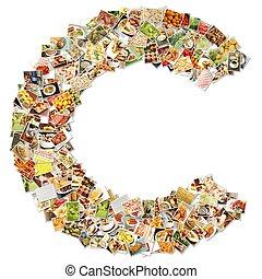 alimento, c, arte