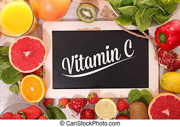 alimento, c, vitamina