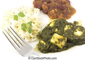 alimento, caída, -, paneer, indianas, autêntico