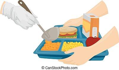 alimento, cafetería, sirva
