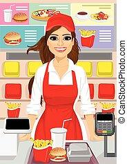 alimento, caixa, femininas, rapidamente, restaurante