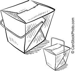 alimento, caixas, esboço, chinês