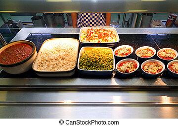 alimento, caliente, porción, mostrador