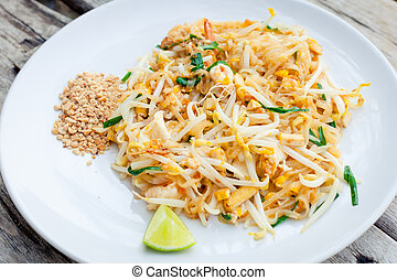 alimento, camarão, acolchoe thai, noodles, mexa fritura