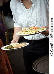alimento, camarero, servido, ser, boda