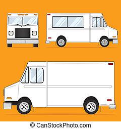 alimento, camión, blanco