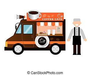 alimento, camión, café