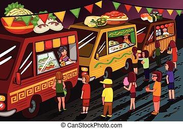alimento, camión, fiesta