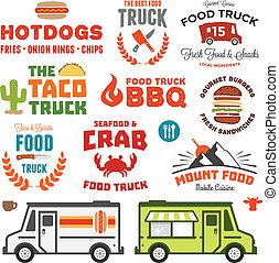 alimento, camión, gráficos