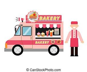 alimento, camión, panadería