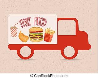 alimento, camión, rápido