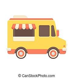 alimento, caminhão, ilustração