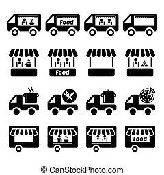 alimento, caminhão, levantar, ícones