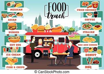 alimento, camiones, infographics